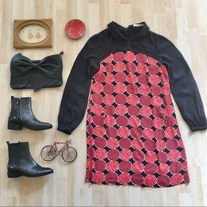 Boden Highbury Dress WH439 black red circles Med